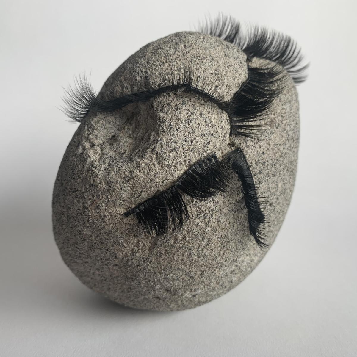 Stones with eyelashes